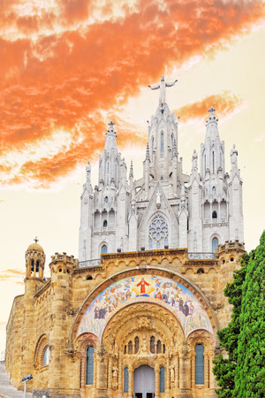 Temple on top of Mount Tibidabo, the Temple of the Sacred Heart. Barcelona.Spain. photo