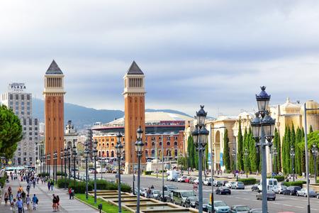 espanya: BARCELONA, SPAIN - SEPT 04: Famous   Placa De Espanya in Barcelona. September 04, 2014 in Barcelona Spain. The most beautiful square  in the Catalan capital .