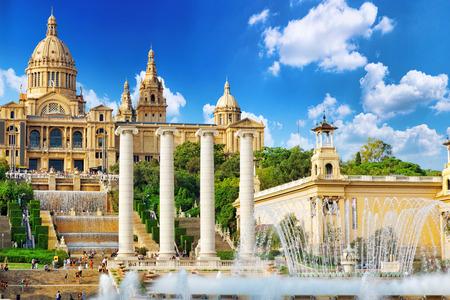 Nationaal Museum in Barcelona, Plaça de España, Spanje. Redactioneel