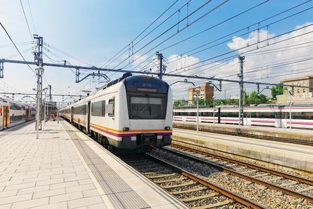 intercity: Suburban railway train at the railways station .
