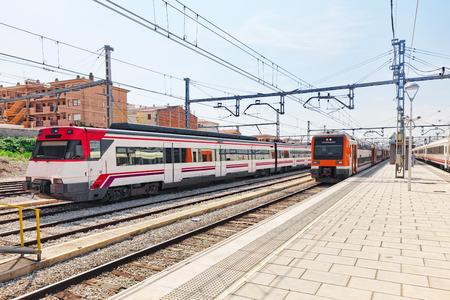 intercity: Suburban railway train at the railways stantion . Editorial