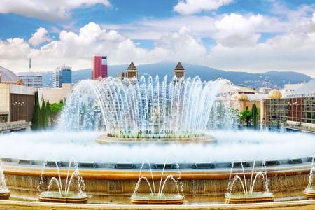 Fountain of Montjuic and Plaza de Espanya. Barcelona\