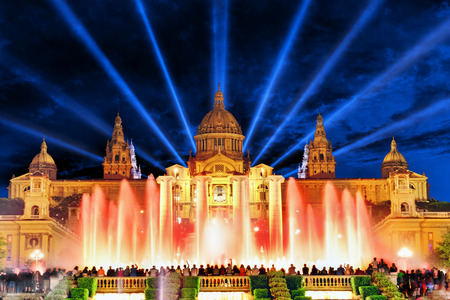 montjuic: The National Palace and  famous Montjuic  Fountain in  Barcelona.Spain.