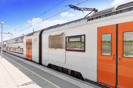 intercity: Suburban railway train at the railways stantion . Stock Photo