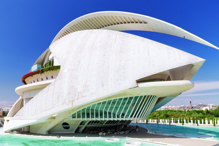 hemispheric: VALENCIA, SPAIN - SEPT 10: Palace of Arts (El Palau de les Arts Reina Sofia) - City of Arts and Sciences. September 10, 2014 in Valencia, Spain. Every year,Valencia welcomes more than 4 million visitors.