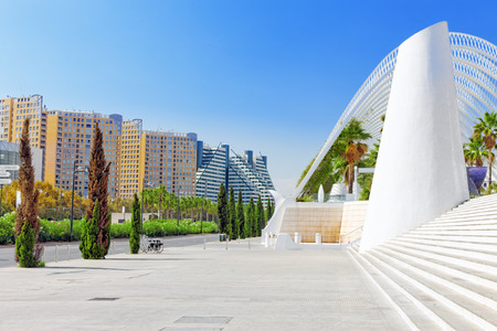 hemispheric: VALENCIA, SPAIN - SEPT 10:  Landscaped walk tropic park (LUmbracle) - City of Arts and Sciences. September 10, 2014 in Valencia, Spain. Every year,Valencia welcomes more than 4 million visitors. Editorial