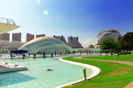 hemispheric: VALENCIA, SPAIN - SEPT 10: Science Museum (El Museu de les Ciències Príncipe Felipe) - City of Arts and Sciences. September 10, 2014 in Valencia, Spain. Every year,Valencia welcomes more than 4 million visitors.