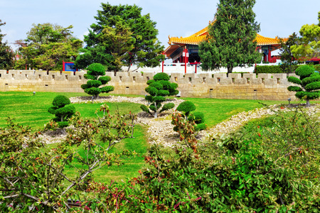 Beautiful Chinese landscape park. Stock Photo
