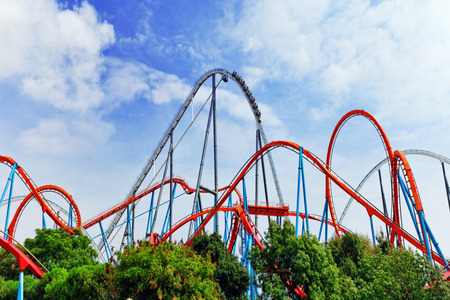 europe: Roller Coaster in funny amusement  park.