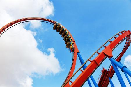 Roller Coaster in fun amusement  park.