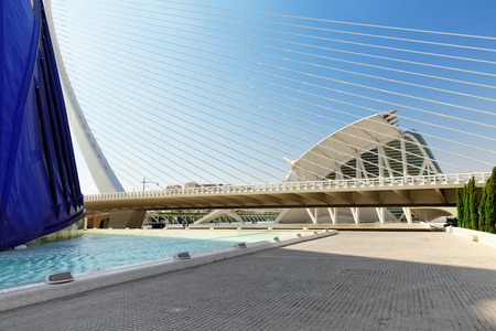 hemispheric: VALENCIA, SPAIN - SEPT 10: Covered plaza in which concerts and sporting events (LÀgora ) - City of Arts and Sciences. September 10, 2014 in Valencia, Spain. Every year,Valencia welcomes more than 4 million visitors.