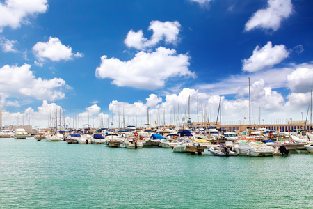 View on moorage of yachts in  sea port. Spain Editorial