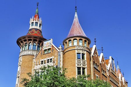 noteworthy: Ð¡asa Serra (Building with spires) in centre of  Barcelona, Catalunia, Spain.