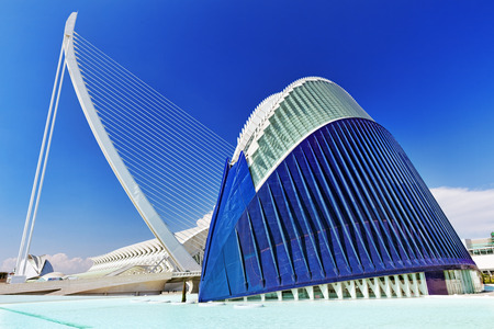 VALENCIA, SPAIN - SEPT 10: Covered plaza in which concerts and sporting events (LÀgora ) - City of Arts and Sciences. September 10, 2014 in Valencia, Spain. Every year,Valencia welcomes more than 4 million visitors.
