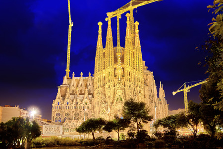 Sagrada Familia,beautiful and majestic  outdoor  view  Barcelona, Spain.