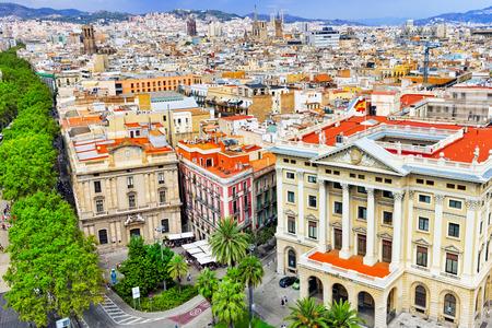 on Barcelona city from Columbus column. Barcelona, Catalonia, Spain. photo