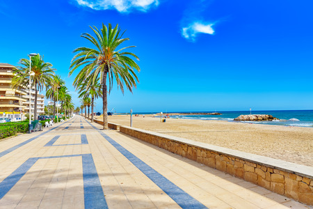 Seafront, beach,coast in Spain. Suburb of Barcelona, Catalonia 版權商用圖片