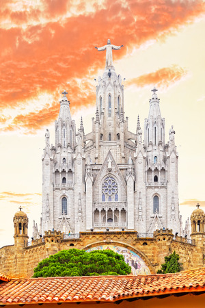 tibidabo: Temple on top of Mount Tibidabo, the Temple of the Sacred Heart. Barcelona.Spain.
