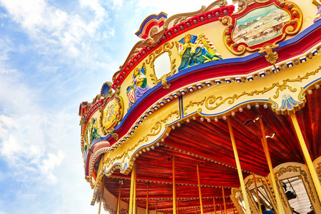 wheel spin: Carousel. Horses on a carnival.