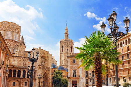 Square of Saint Mary's and Valencia  Cathedral Temple in old town.Spain , Catalonia. 스톡 콘텐츠