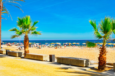 seafront: Seafront, beach,coast in Spain. Suburb of Barcelona, Catalonia Stock Photo