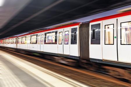 Moving train, motion blurred, Barcelona  photo