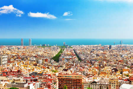 barcelona city: Panorama on Barcelona city from Montjuic castle.Catalonia. Spain.