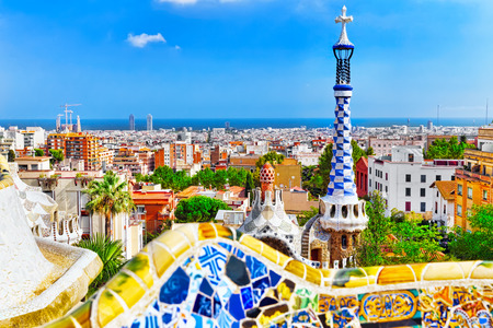 guell: Gorgeous and amazing Park Guel in Barcelona. Spain