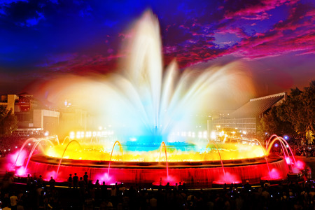 montjuic: The famous Montjuic Fountain in Barcelona.Spain, Catalonia