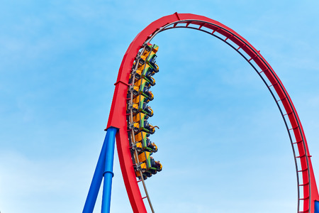 roller: Roller Coaster in funny amusement  park.