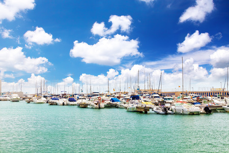 barsa: View on moorage of yachts in  sea port. Spain Stock Photo