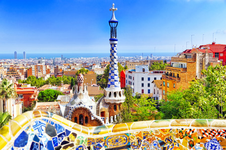 Gorgeous and amazing Park Guel in Barcelona. Spain Imagens - 35032678