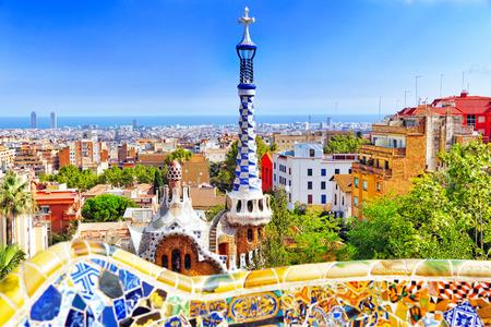 Prachtige en verbazingwekkende Park Guel in Barcelona. Spanje Stockfoto