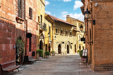 plateresque: Typical landscapes and authentic Catalan cozy streets in cities of  Spain.Catalonia.