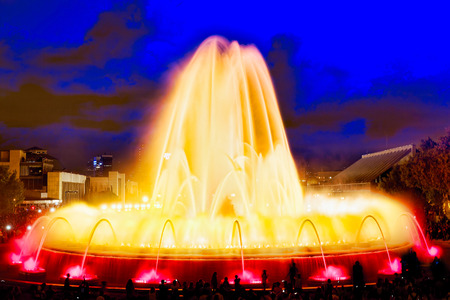 nightshot: The famous Montjuic Fountain in Barcelona.Spain, Catalonia
