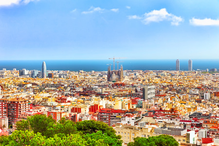 Panorama on Barcelona city