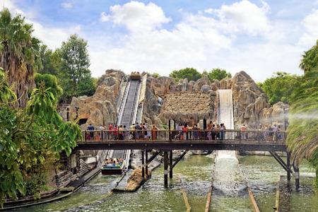 Amusement park in Spain near Salou- Port Aventura. Salou, Spain Stock Photo