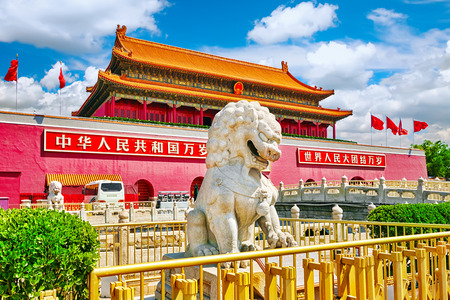 chinese pagoda: Lions on Tiananmen Square near Gate of Heavenly Peace- the entrance to the Palace Museum in Beijing (Gugun).Tiananmen Square is a  third large city square in the centre of Beijing, China.