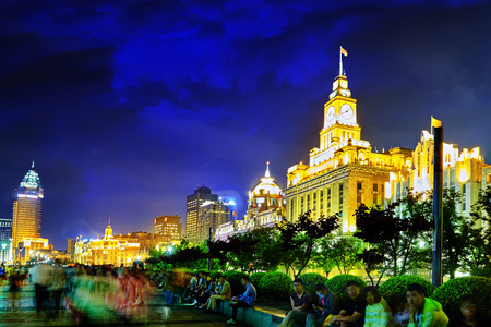 shanghai pudong skyline: SHANGHAI, CHINA - MAY 23, 2015:Beautiful view of  Shanghai -  Bund or Waitan waterfront at night. Shanghai waterfront Bund has historical buildings and it is one of the most famous tourist places in Shanghai.