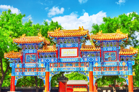 temple: Entrance gate of Yonghe  Lama Temple. Beijing. Lama Temple is one of the largest and most important Tibetan Buddhist monasteries in the world.