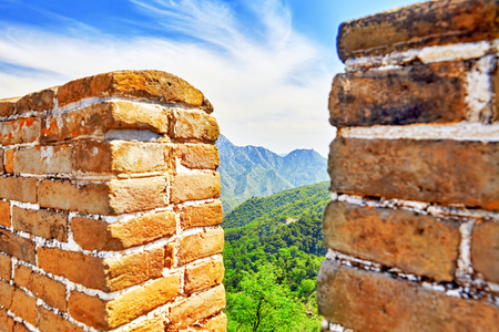 simatai: Close-Up view of Great Wall of China, section Mitianyu. Suburbs of Beijing. Stock Photo
