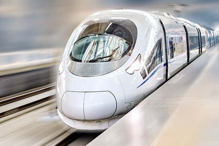 현대 고속 여객 열차. 모션 효과.
