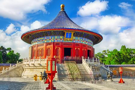 The Imperial gewelf van de hemel in het complex Tempel van de Hemel in Peking, China.Inscription betekent: gewelf van de hemel.