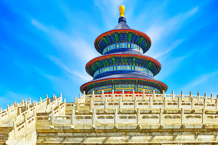 temple tower: Wonderful and amazing temple - Temple of Heaven in Beijing, China Stock Photo