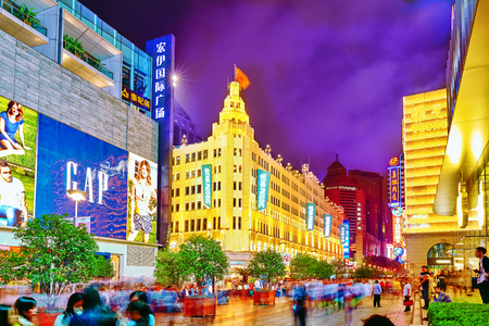 shanghai night: SHANGHAI, CHINA - MAY 23, 2015:Beautiful view of Shanghai street Nanjing Lu. Shanghai street Nanjing Lu has many modern malls, shops, cafes, restaurants and places for interesting spend a time. Editorial