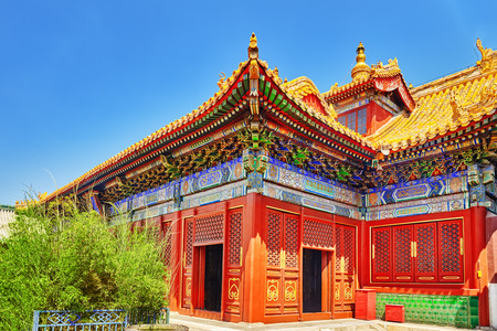 buddhist temple: Beautiful View of Yonghegong Lama Temple.Beijing. Lama Temple is one of the largest and most important Tibetan Buddhist monasteries in the world.