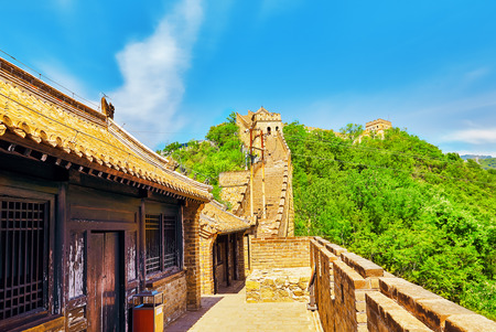 jinshaling: Close-Up view of Great Wall of China, section Mitianyu. Suburbs of Beijing. Editorial