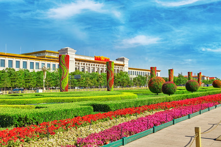 china: Great Hall of the People ( National Museum of China) on Tiananmen Square, Beijing. China.
