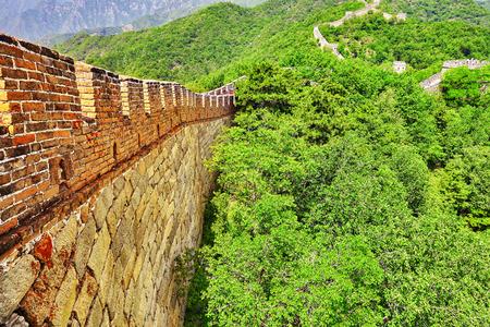 jinshaling: Close-Up view of Great Wall of China, section Mitianyu. Suburbs of Beijing. Stock Photo