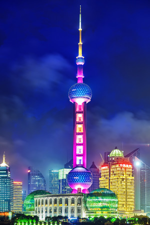 oriental pearl tower: SHANGHAI, CHINA -MAY 24, 2015. Oriental Pearl Tower at the nighttime. Tower  470 meter the Oriental Pearl is one of Shanghais tallest buildings, located at Lujiazui finance and trade zone in Pudong district in most dynamic city of China.